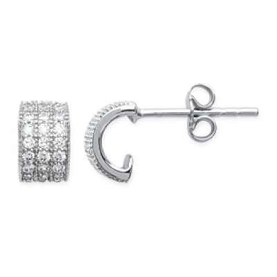 Petites Demi-Hoop Earrings pierres brillantes Argent...