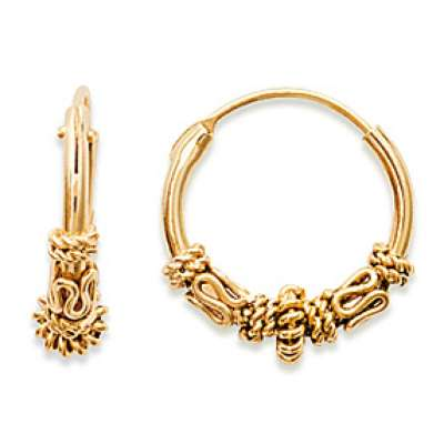 Hoop Earrings of Bali Tribales Gold plated 18k 14mm -...