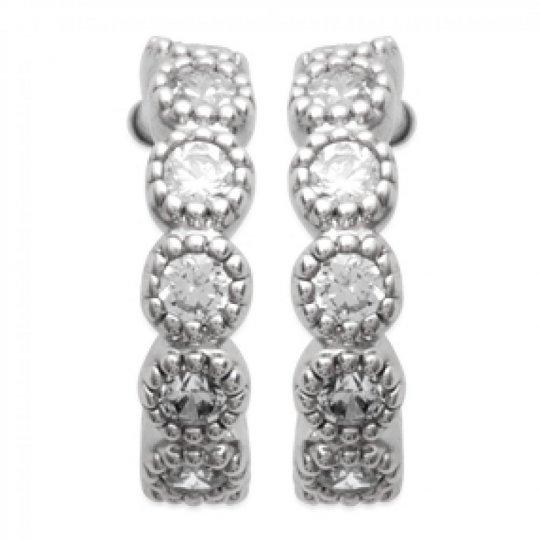 Petites Demi-Hoop Earrings avec pierres Argent 10mm -...