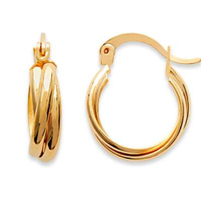 Petites Hoop Earrings Torsadées 15mm Gold plated 18k - Women