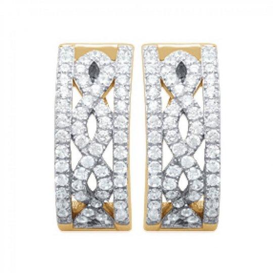 Demi-Hoop Earrings Strass Infinite Gold plated 18k 16mm -...