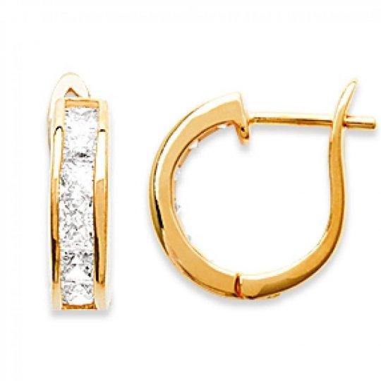 Cerchio Orecchini Strass Placcato in oro 18k - Zirconium - Fermoir à charnière