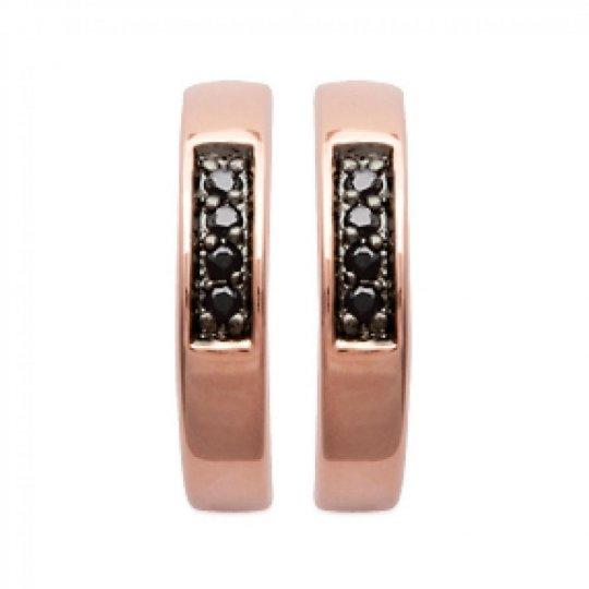 Créoles Plaqué Or Rose 13mm - Zirconium noir