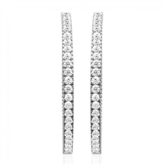 Hoop Earrings Strass Argent Rhodié 40mm - Zirconium - Women