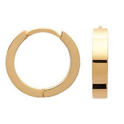 Hoop Earrings Fil Carré lisse Gold plated 18k - Fermoir à...
