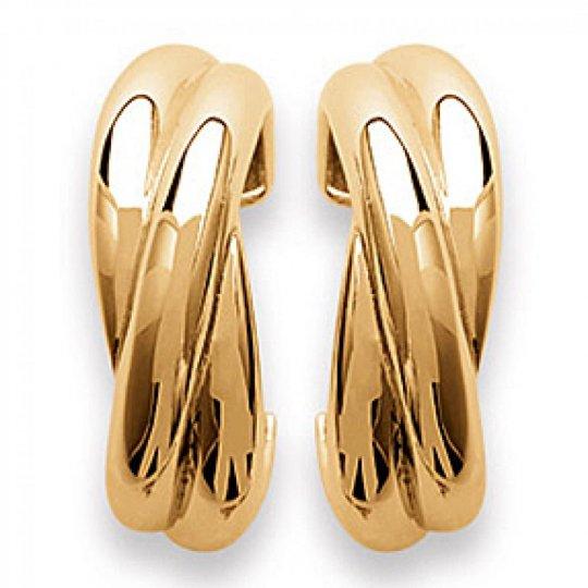 Demi-Hoop Earrings croisées Gold plated 18k - 6 x 20mm