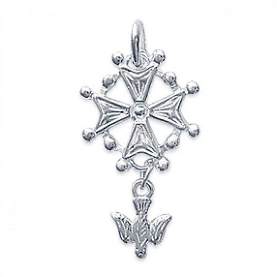 Croix Huguenote 16x28mm Argent - Pendentif Homme/Femme
