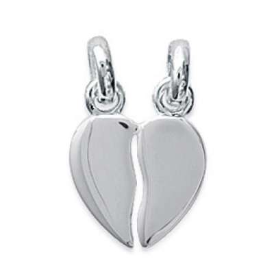 Pendants Heart  Sécable Argent Rhodié Engravable - Women