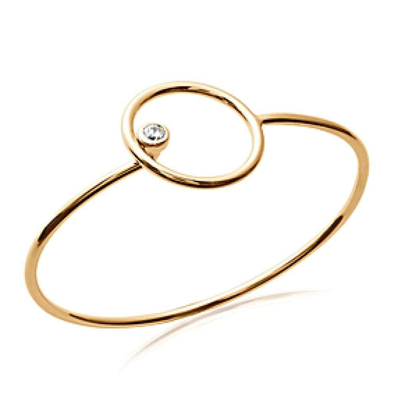 Bracciale Bangle anneau cercle Placcato in oro 18k - Zirconia Cubica - 58mm