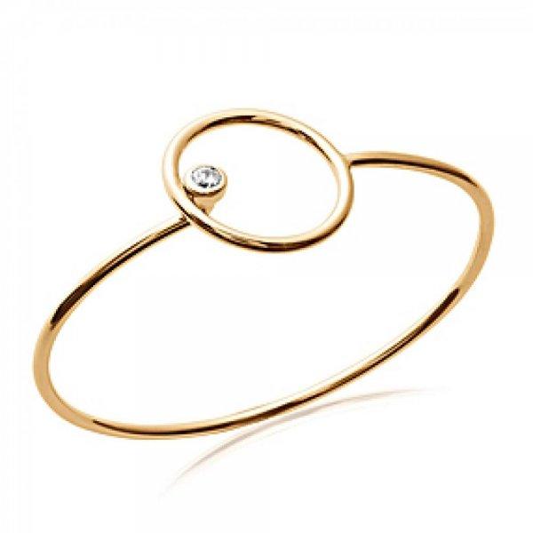 Jonc anneau cercle Plaqué Or - Oxyde de Zirconium - 58mm