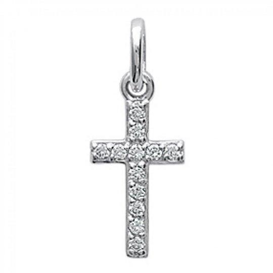 Pendentif Croix Catholique Brillante Argent Rhodié -...