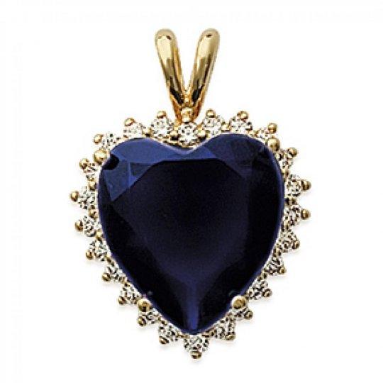 Ciondolo Cuore Marguerite Bleu Placcato in oro 18k - Donna