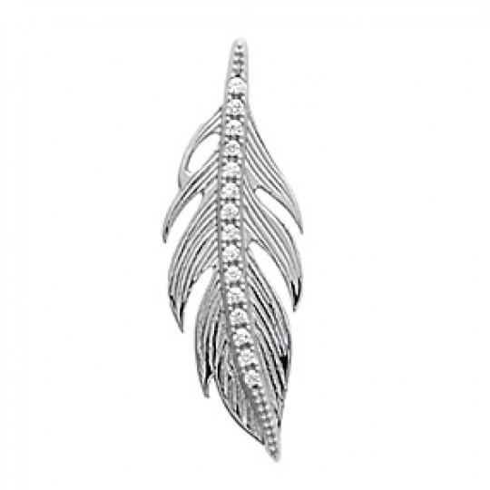 Pendants Feather Strass Brille Argent Rhodié - Zirconium