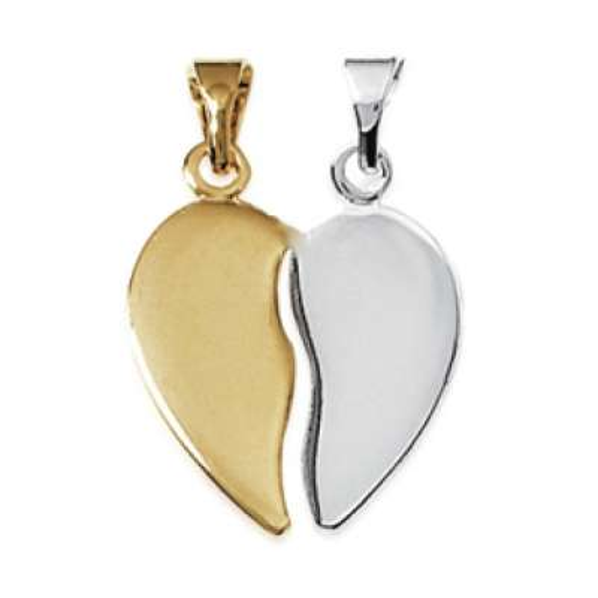 Coeur Sécable Pendentif Bicolore Plaqué Or Gravable