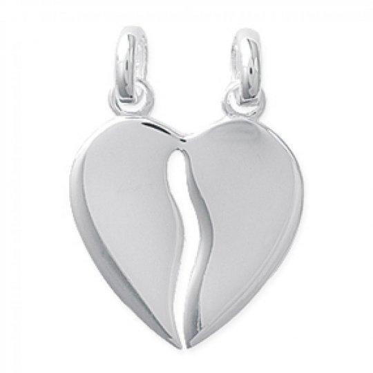 Coeur sécable Pendentif Argent Gravable - Femme