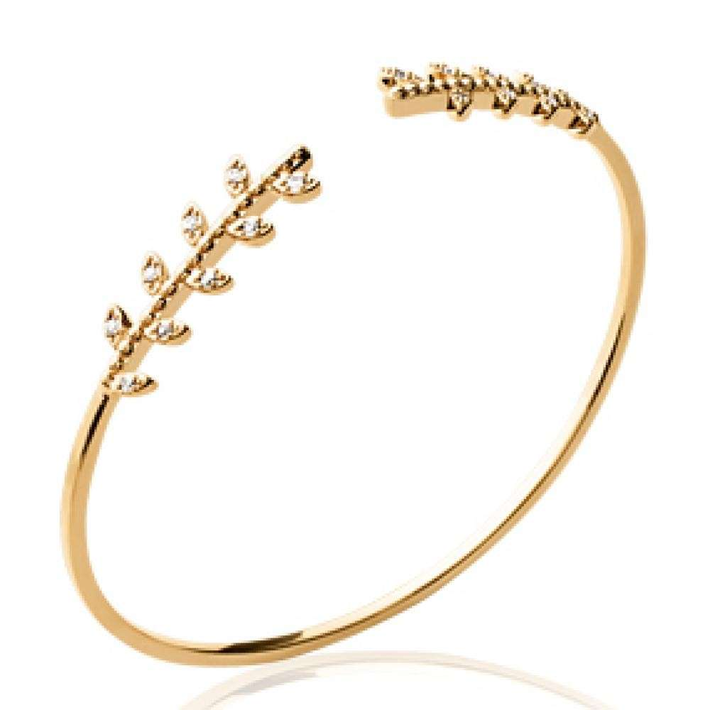 Bangle Bay leaf Gold plated 18k - Cubic Zirconia - Women - 56mm