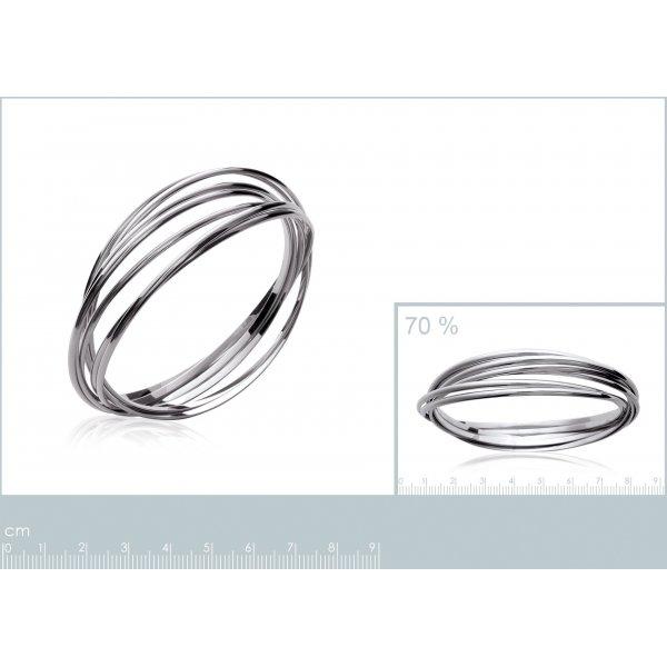 Bracciale Bangle semainier multi anneaux Argento Sterling 925 Rodiato - Donna - 66mm