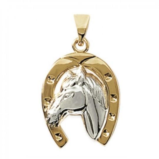 Pendentif Fer à cheval Porte-bonheur Plaqué Or - Bicolore...