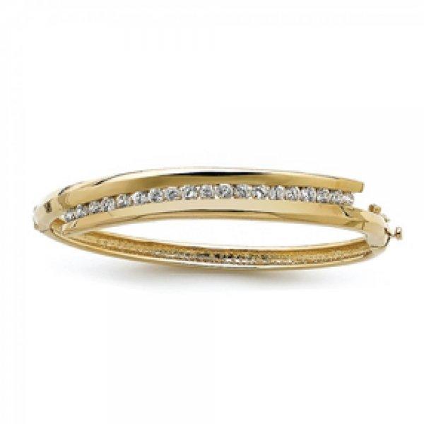 Bracciale Bangle strass Placcato in oro 18k - Zirconia Cubica - Donna - 60mm