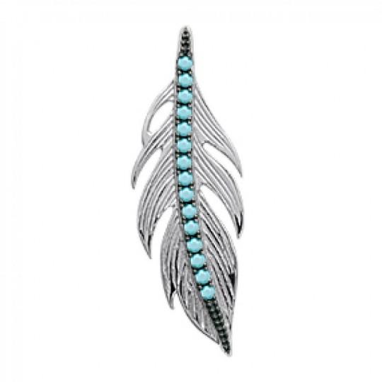 Pendentif Plume Bleue turquoise Argent - Femme