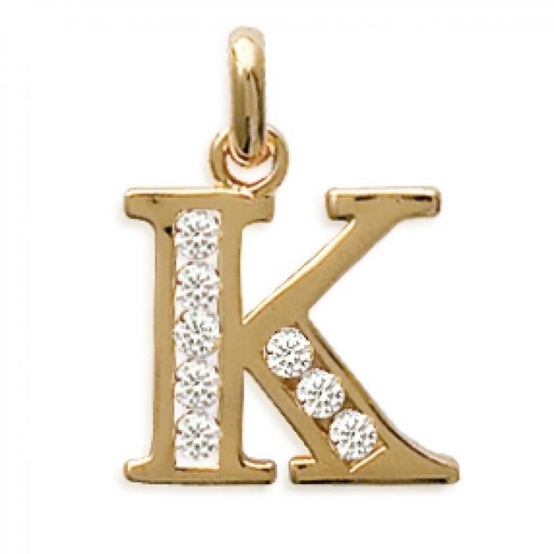 Pendants Lettre K Gold plated 18k pour for Men Women Zirconium