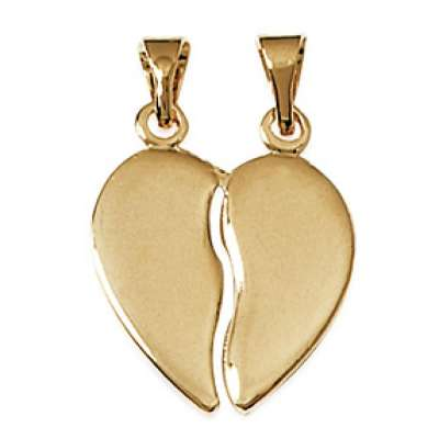 Pendants Heart  sécable Gold plated 18k Engravable -  -...