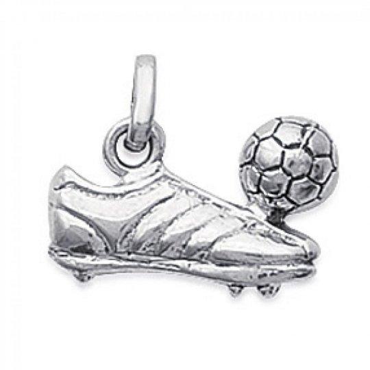 Pendentif Chaussure de Foot et Ballon Argent Rhodié