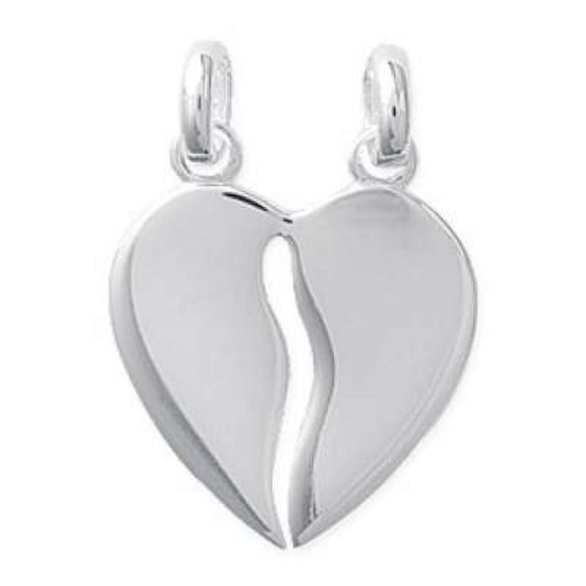 Pendants Heart  Sécable Engravable pour couple Argent Rhodié