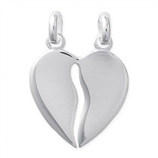 Pendentif Coeur Sécable Gravable pour couple Argent Rhodié