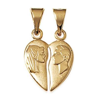Pendants Heart  Sécable avec un for Men et une Women Gold...