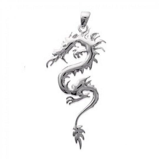 Pendentif Dragon Argent Rhodié - Femme