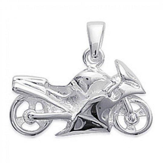 Pendentif Moto de Course Argent Rhodié pour Homme Femme