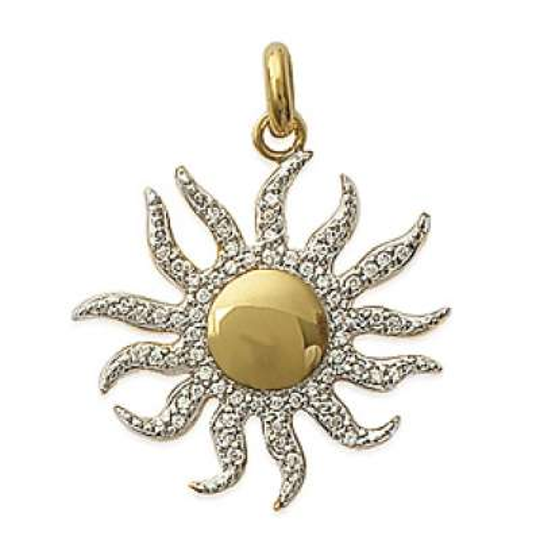 Pendants Soleil  Flamboyant Gold plated 18k - Zirconium -...