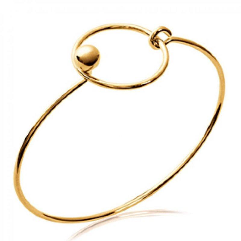 Pulsera rigida anneau cercle fin Chapado en Oro 18K - Mujer - 58mm