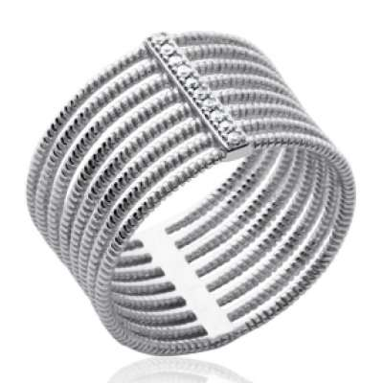 Anello large multi anneau originale Argent Rhodié -...