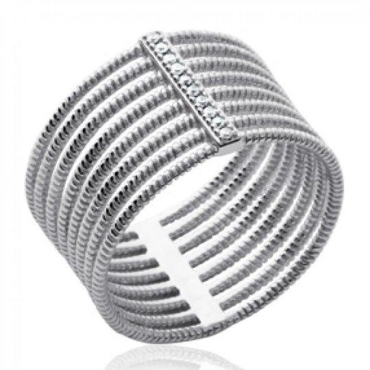 Bague large multi anneau originale Argent Rhodié - Zirconium