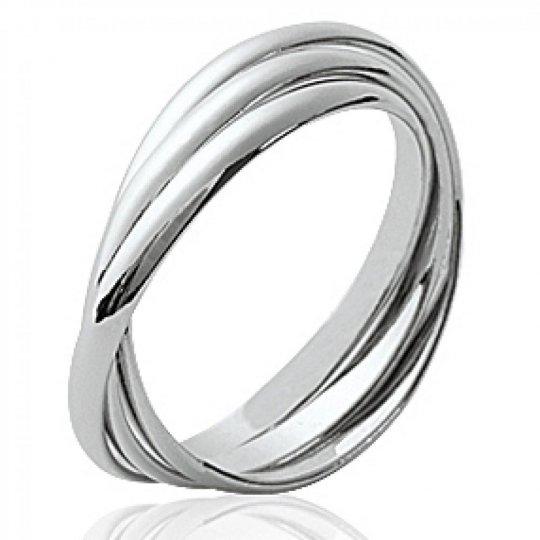 Anillo fine 3 anneaux Argent Rhodié - Mujer