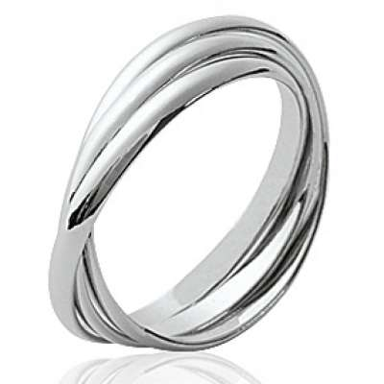 Bague 3 anneaux Argent Rhodié - Femme