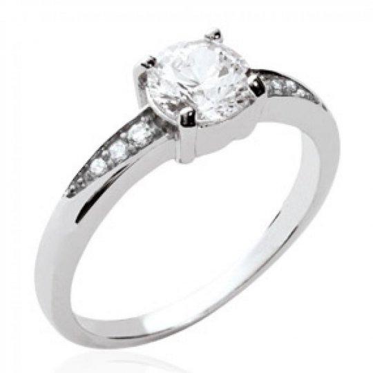 Ring Solitaire Zirconium Argent Rhodié - Women