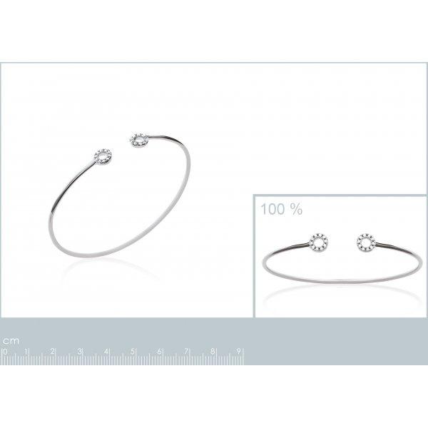 Bracciale Bangle petits cercles empierrées Argent -Zirconia Cubica - Donna - 58mm