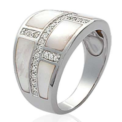 Grosse Ring argent Mother of pearl - Rhodié - Cubic Zirconia