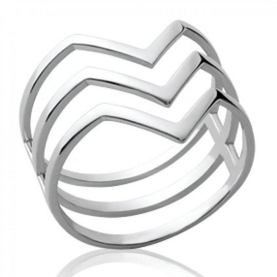 Ring multi anneaux en v Argent Rhodié - Women