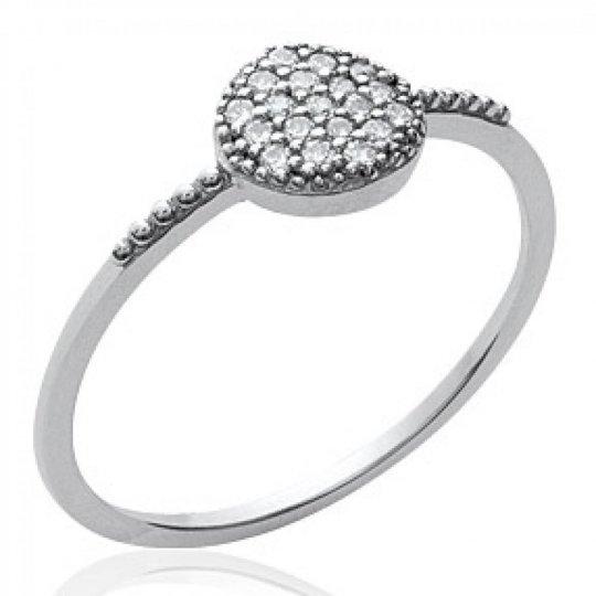 Ring rond Argent Rhodié - Zirconium - Ring de promesse Women