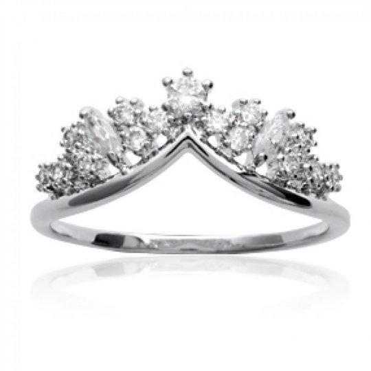 Anello couronne Argent Rhodié - Zirconium - Anello de...