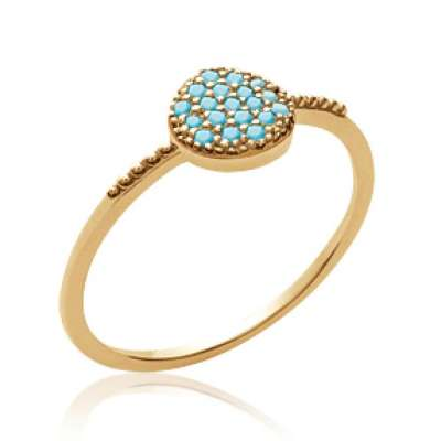 Ring pierre d'imitation Bleue turquoise fine Gold plated...