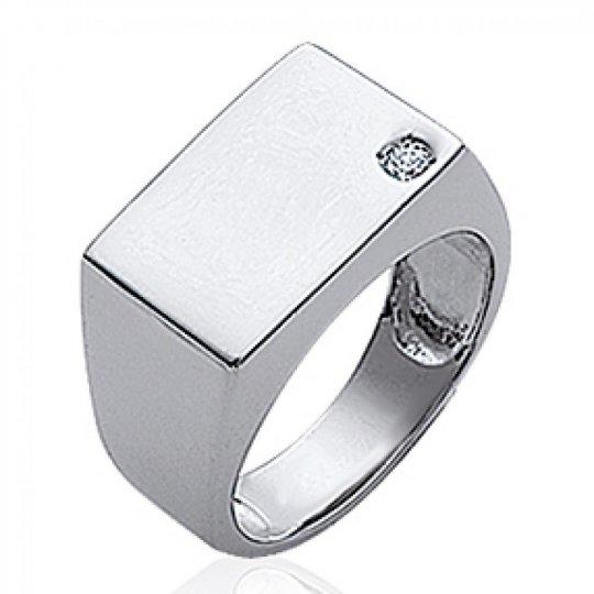 Signet ring pierre Argent Rhodié Engravable - Zirconium -...