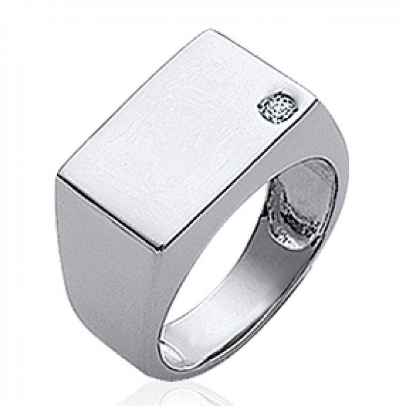 Signet ring pierre Argent Rhodié Engravable - Zirconium - for Men