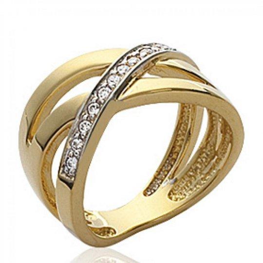 Bague multi anneaux entrelacée Plaqué Or - Zirconium - Femme