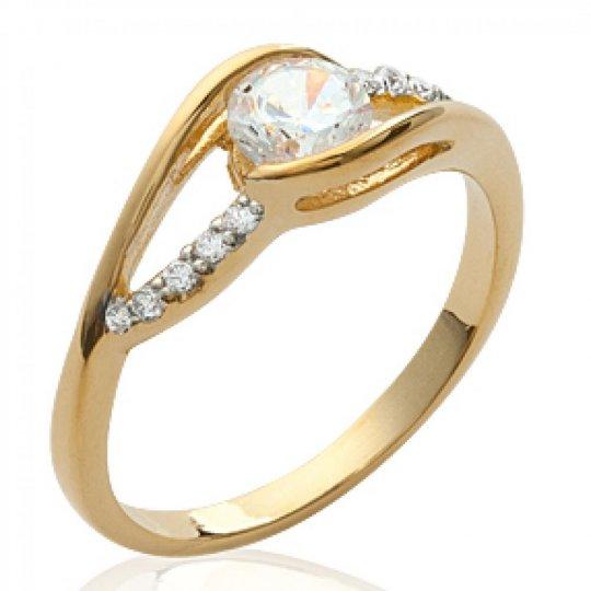 Ring Solitaire Gold plated 18k - Zirconium - Ring de...