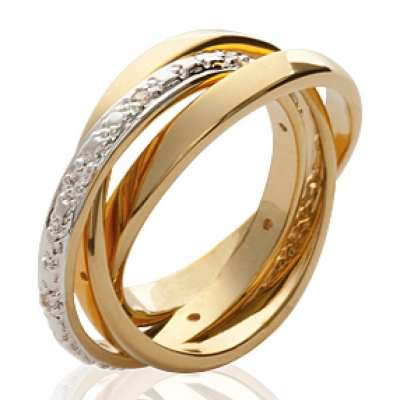 Wedding ring Engagement 3 anneaux Gold plated 18k -...